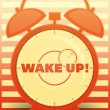 Orange Alarm Clock with text: Wake up! - Stok Vektör