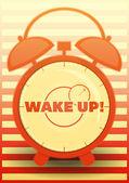 Orange Alarm Clock with text: Wake up! — Stock Vector