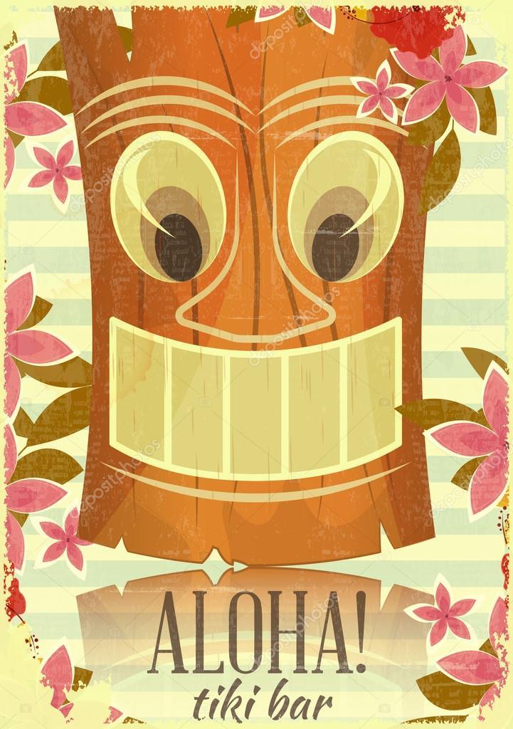 Postal vintage tiki hawaiano vector de stock for Tiki hawaiano