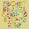 Multicolored striped alphabet — Stock Vector #20110517