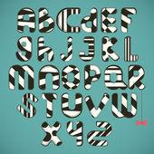 Black-white striped alphabet — Stock Vector