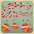 Vintage birthday card with Cakes — Stock Vector #20201207