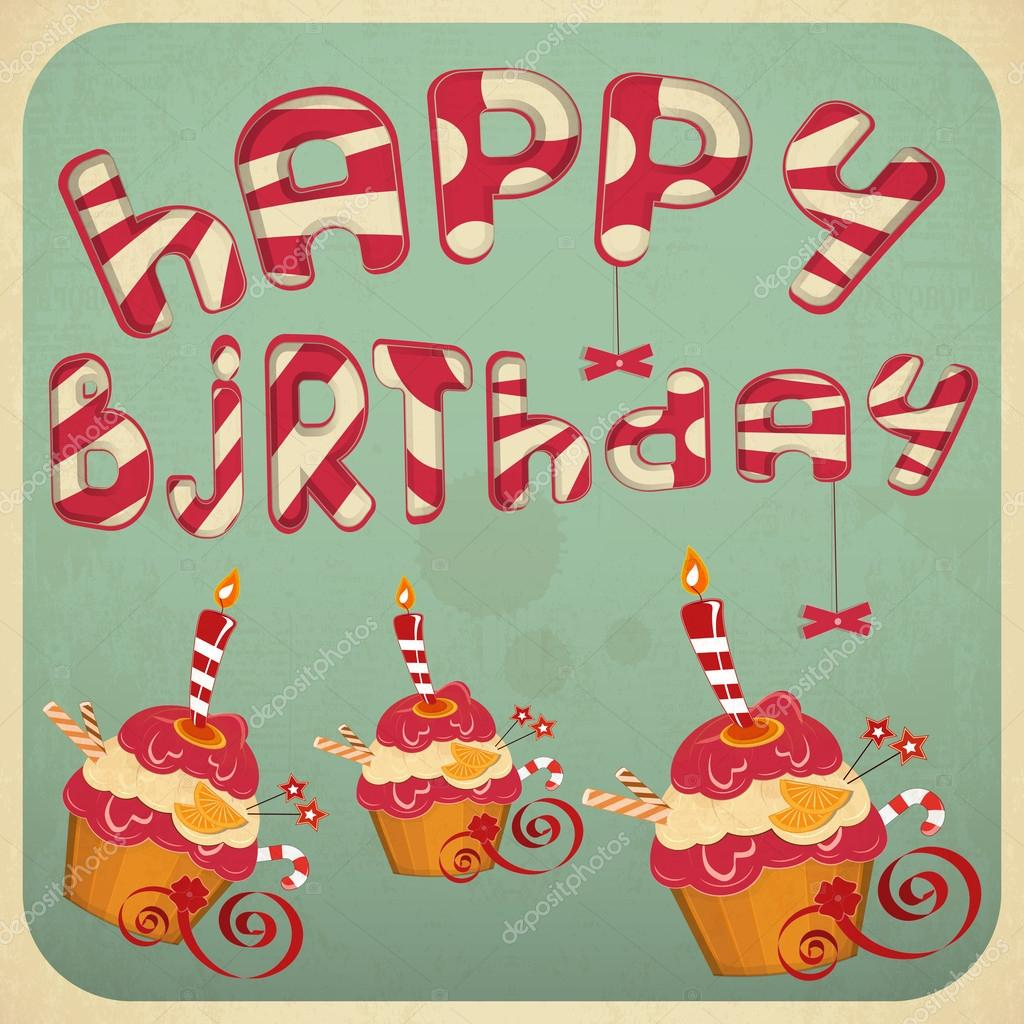 vintage birthday card with cakes  stock vector © elfivetrov, Birthday card