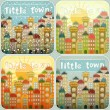 Little Town Seasons Set - Grafika wektorowa