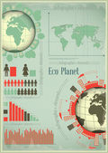 Infographics Eco Planet Earth and Construction — Stock Vector