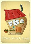 Cartoon Houses Postcard — Stock Vector