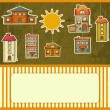Set of Houses retro Card — Stock Vector