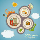 Little Town Infographics — Stock Vector
