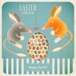 Retro Vintage Card with Easter Australian Bilby — Stock Vector