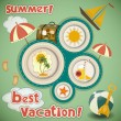 Summer Vacation Travel Card — Stock Vector