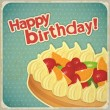 Vintage birthday card with Fruit Cake - Stock Vector
