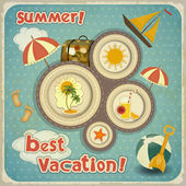 Summer Vacation Card in Vintage Style — Stock Vector