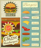 Burgers Menu Set Retro — Stock Vector