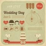 Wedding Day Invitation Infographics Card — Stock Vector