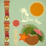 Vintage Hawaiian Tiki postcard — Stock Vector