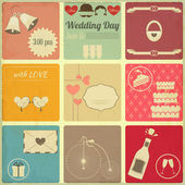 Wedding Set of Retro Cards — Stock Vector