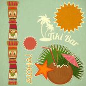 Винтаж Гавайские тики открытка — Cтоковый вектор