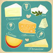 Vintage Set of Cheese — Stock Vector