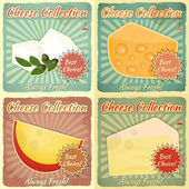 Vintage Set of Cheese Labels — Stock Vector