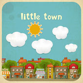 Little Town Color Houses — Stock Vector