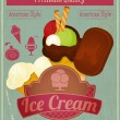Ice Cream Vintage Card Menu — Stock Vector