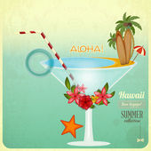Summer Cocktail Card in retro Style — Stock Vector