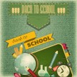 Back to School Retro Card — Stock Vector