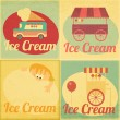 Set of Ice Cream Retro Labels — Stock Vector