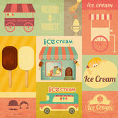 Ice Cream Retro Menu Card — Stock Vector