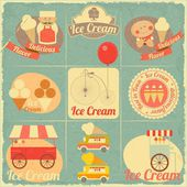 Ice Cream Retro Card — Stock Vector