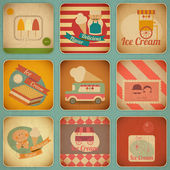 Ice Cream Retro Labels — Stock Vector
