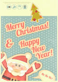 Retro Merry Christmas and New Years Card — Cтоковый вектор