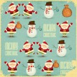 Santa Claus and Snowman Background — Imagen vectorial