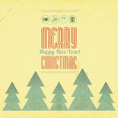 Рождественская карта ретро — Cтоковый вектор