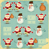 Santa Claus and Snowman Background — Stock Vector