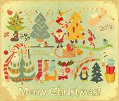 Retro Merry Christmas Card — Stock Vector