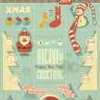 Vintage Christmas Infographic with Santa Claus — Stock Vector