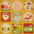 Retro Merry Christmas and New Years Card. Set — Vettoriale Stock