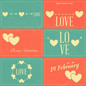 Vintage Valentines Day Cards — Stock Vector