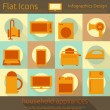 Stock Vector: Flat Home Appliances Icons Set