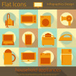 Flat Home Appliances Icons Set — Stock Vector