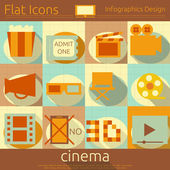 Flat Movie Icons Set — Stock Vector
