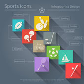 Flat Sports Icons Set — Stock Vector