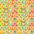 Flat Food Seamless Background — Stock Vector