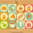 Flat Food Icons Set — Stock Vector