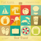Flat Travel Icons Set — Vecteur