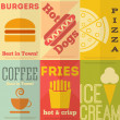 Stock Vector: Retro fast food posters collection