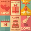 Retro Valentines posters collection — ストックベクタ