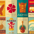 Retro Hawaii posters collection — Stock Vector