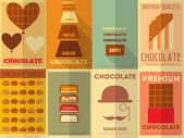 Retro Chocolate posters collection — Stock Vector